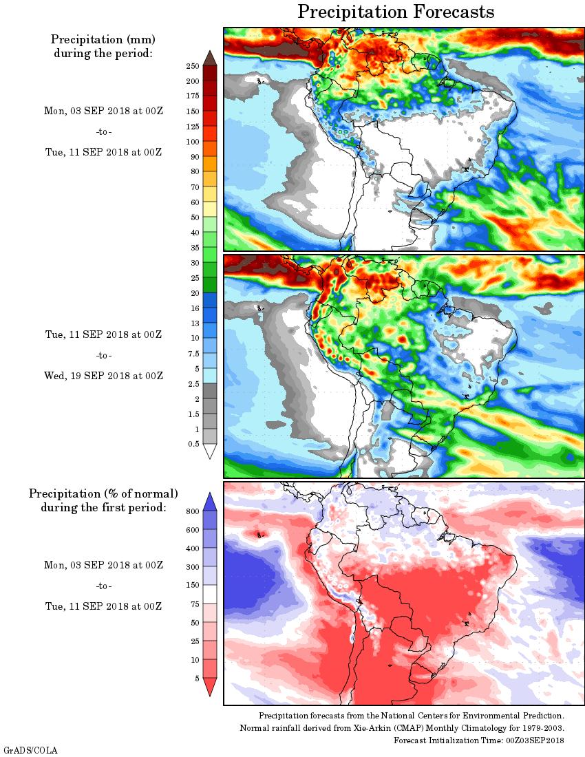 Mapa com a precipitação acumulada para o período de 03 de agosto até 19 de setembro - Fonte: National Centers for Environmental Prediction/NOAA