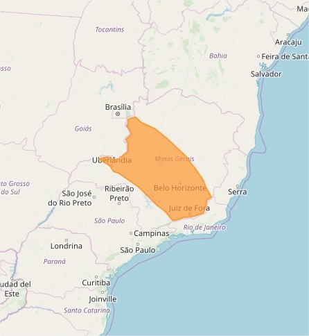 Mapa das áreas com alerta de chuvas intensas nesta 6ª feira - Fonte: Inmet