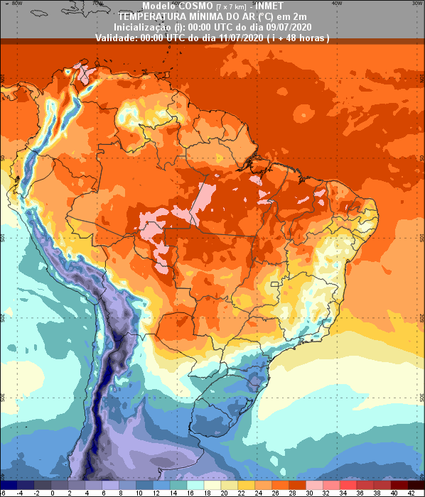 Temperaturas - 48 horas - Inmet - 0907