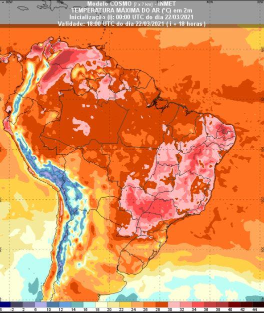 Previsão de temperaturas - Inmet - 2203