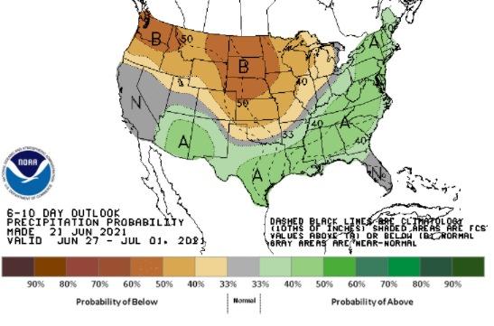 Clima nos EUA 27 de junho a 1 de julho - Fonte: NOAA