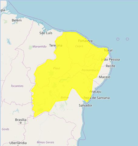 Mapa das áreas com alerta de acumulado de chuva nesta 6ª feira - Fonte: Inmet