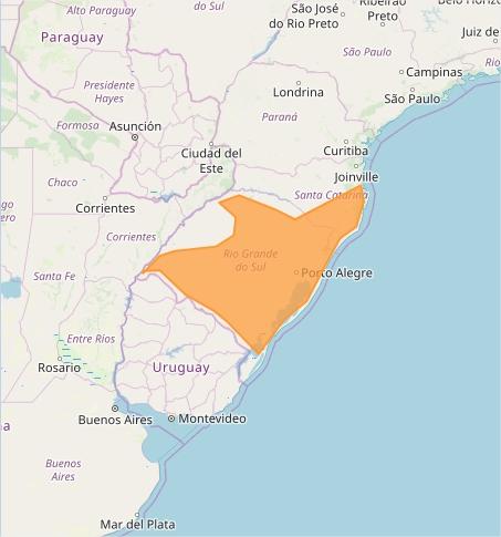 Mapa das áreas com alerta de tempestade nesta 6ª feira - Fonte: Inmet