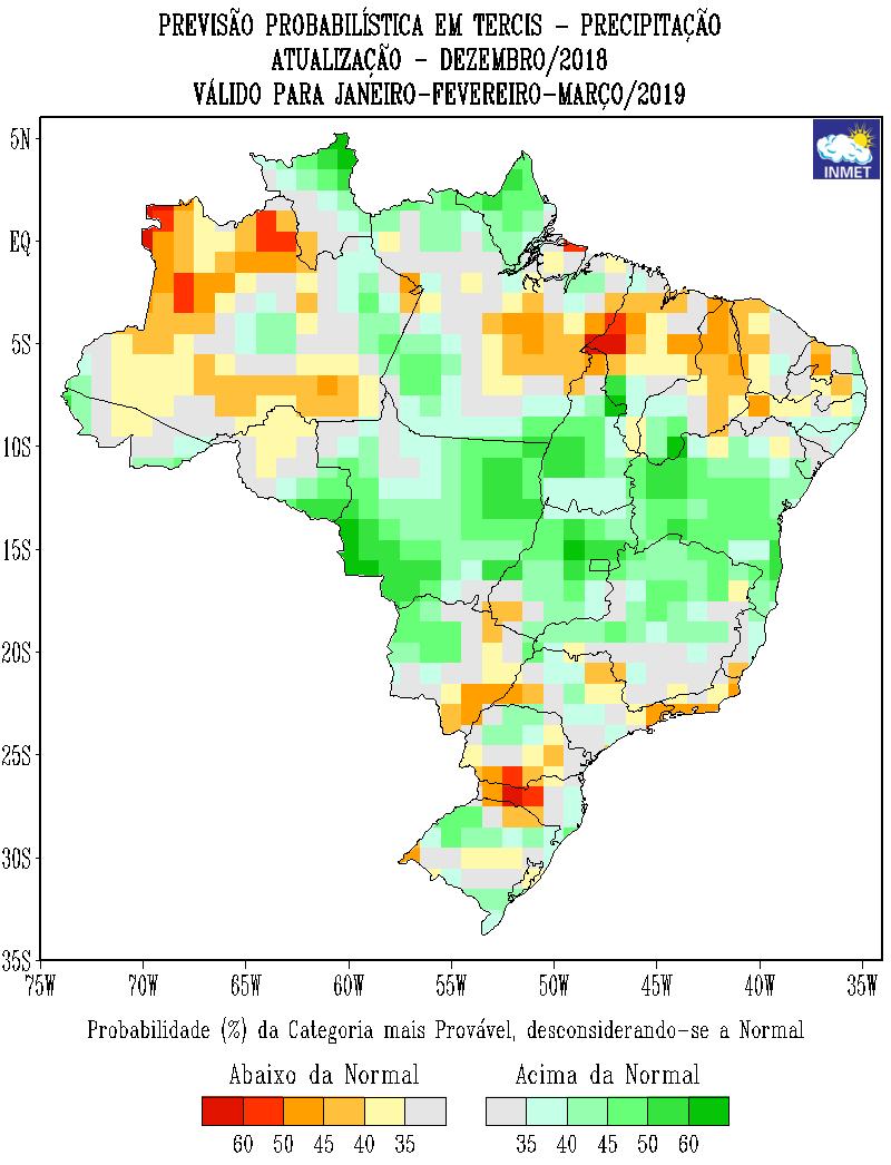 Mapa de previsão probabilística para todo o Brasil em janeiro, fevereiro e março - Fonte: Inmet