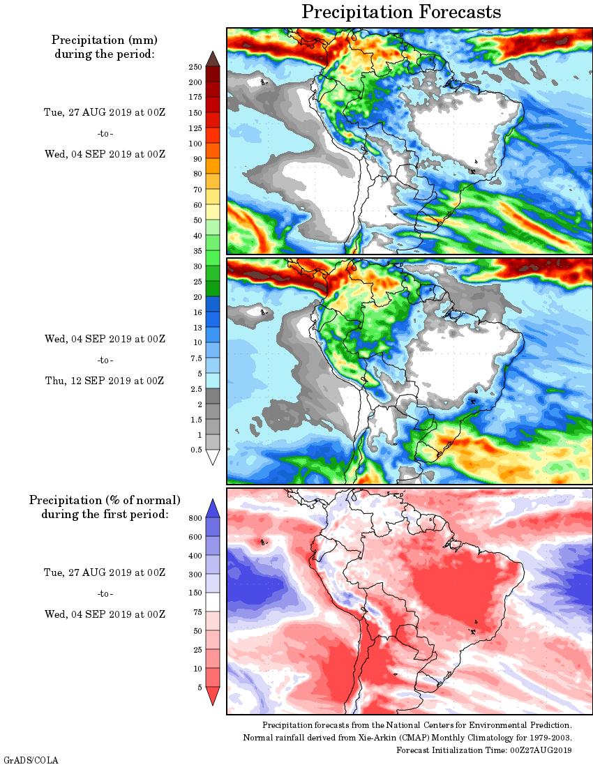 Mapa com a tendência de precipitação acumulada para o período de 27 de agosto até 12 de setembro - Fonte: National Centers for Environmental Prediction/NOAA