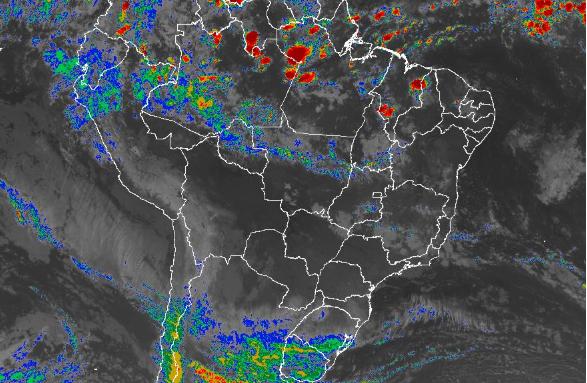 Imagem de satélite de todo o Brasil nesta segunda-feira (14) - Fonte: Inmet