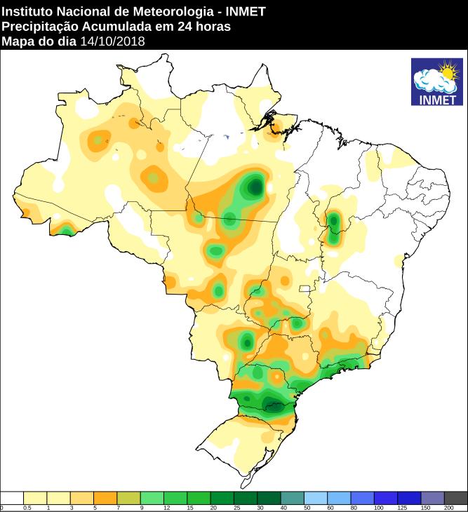 Mapa das áreas com a precipitação acumulada nas últimas 24 horas em todo o Brasil - Fonte: Inmet