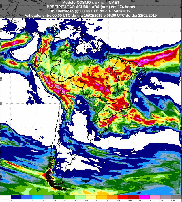 Mapa de precipitação acumulada para todo o Brasil nos próximos 7 dias - Fonte: Inmet