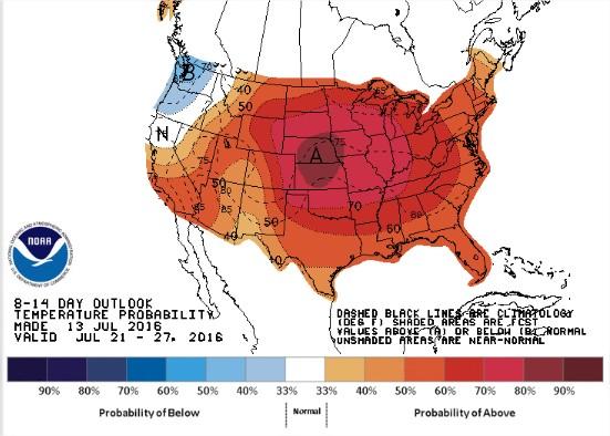 Previsão de Temperaturas nos EUA de 21 a 27 de julho - Fonte: NOAA
