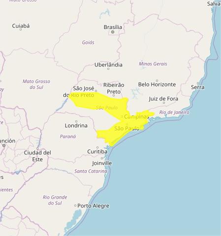 Mapa das áreas com previsão de acumulados de chuva nesta terça-feira - Fonte: Inmet