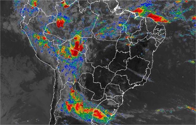 Imagem de satélite de todo o Brasil nesta sexta-feira (1º) - Fonte: Inmet