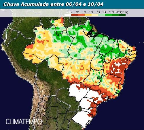 Mapa com a previsão de chuva acumulada em todo o Brasil de 06/04 até 10/04 - Fonte: Inmet
