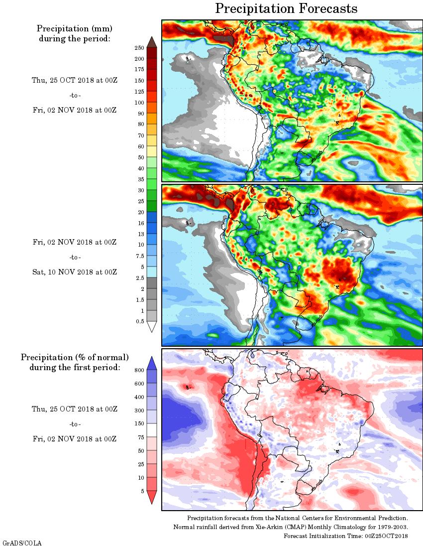Mapa com a precipitação acumulada para o período de 25 de outubro 10 de novembro - Fonte: National Centers for Environmental Prediction/NOAA