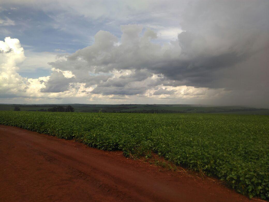 Chuvas chegando durante aplicação de fungicida em Cafelândia (PR). Envio de Álvaro Busetti