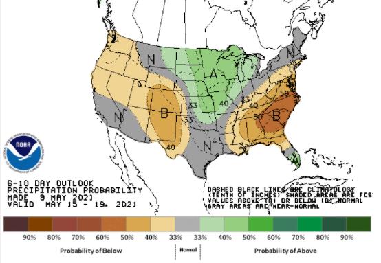Clima nos EUA 15 a 19 de maio - Fonte: NOAA