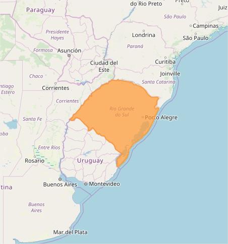Mapa das áreas com alerta de altos acumulados nesta 2ª - Fonte: Inmet