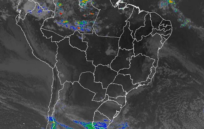 Imagem de satélite de todo o Brasil nesta quinta-feira (06) - Fonte: Inmet