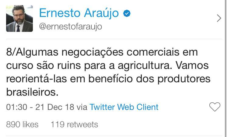 twitter do ernesto araujo 8