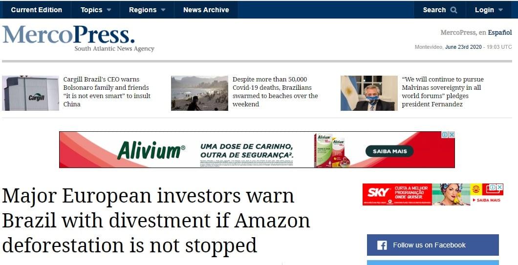 Ameaça aos investimentos do BR - MercoPress