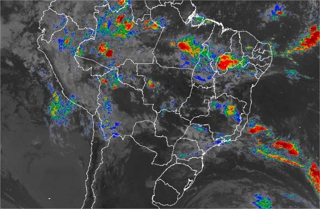 Imagem de satélite de todo o Brasil nesta terça-feira (05) - Fonte: Inmet