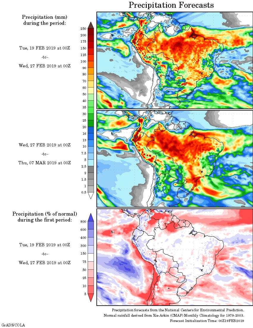 Mapa com a tendência de precipitação acumulada para o período de 19 de fevereiro até 07 de março - Fonte: National Centers for Environmental Prediction/NOAA