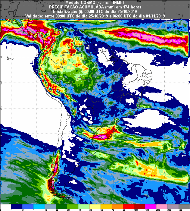 Mapa de precipitação acumulada para os próximos 7 dias em todo Brasil - Fonte: Inmet