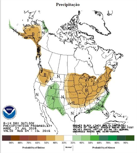 Chuvas previstas nos EUA entre os dias 4 a 10 de agosto - Fonte: NOAA
