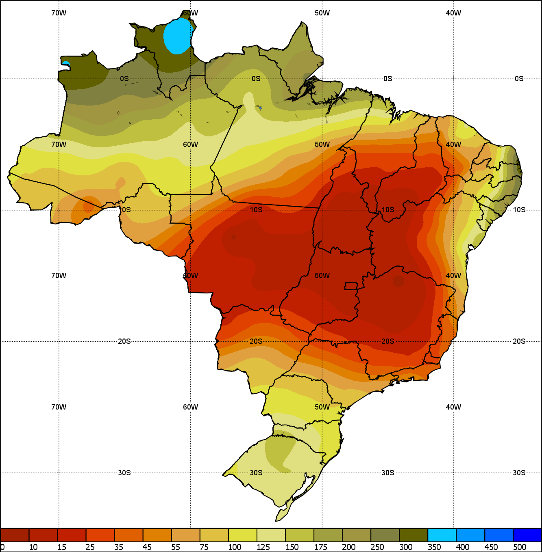 Mapa da normal climatológica (1981-2010) em todo o Brasil - Fonte: Inmet