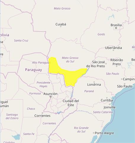 Mapa das áreas com previsão de tempestades nesta terça-feira - Fonte: Inmet