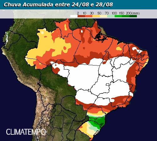 Chuva acumulada entre 24 e 28 de agosto