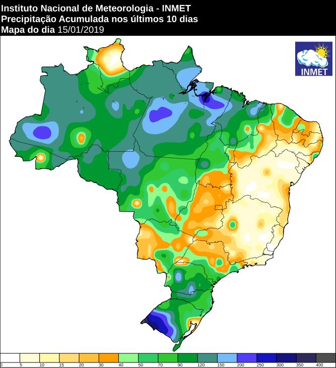 Mapa de precipitação acumulada dos últimos dez dias em todo o Brasil - Fonte: Inmet