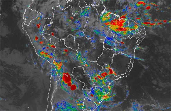 Imagem de satélite de todo o Brasil nesta terça-feira (15) - Fonte: Inmet