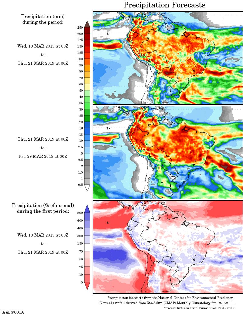 Mapa com a tendência de precipitação acumulada para o período de 13 de março até 29 de março - Fonte: National Centers for Environmental Prediction/NOAA