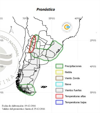 Previsão de chuvas para Argentina de 19 a 25 de dezembro - Fonte: SNM