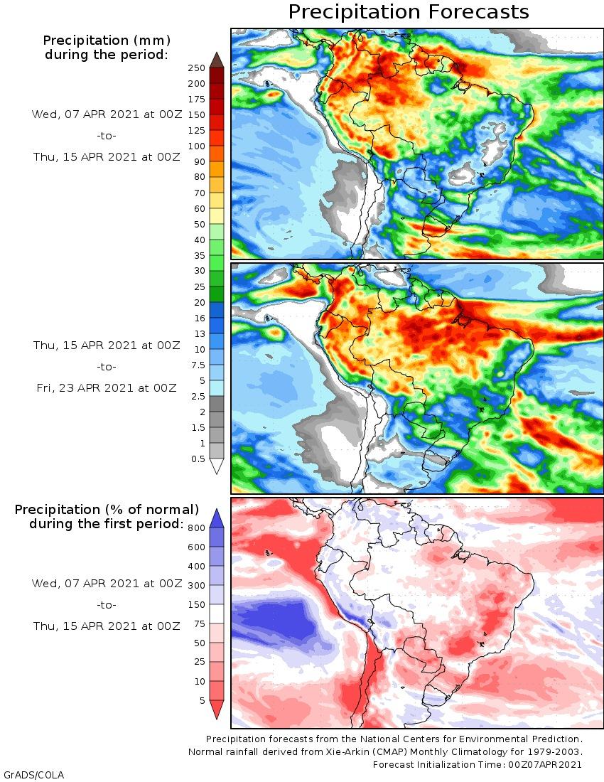 Mapa de previsão estendida para todo Brasil - Fonte: NOAA