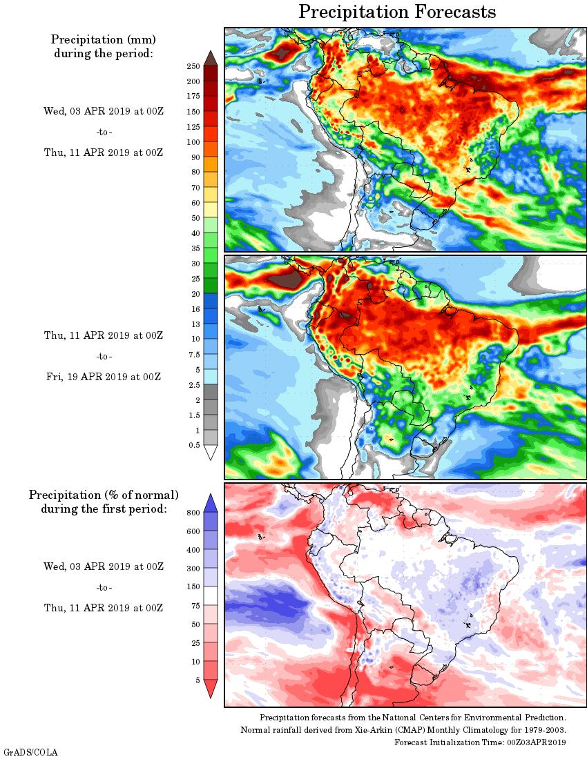Mapa com a tendência de precipitação acumulada para o período de 03 de abril até 19 de abril - Fonte: National Centers for Environmental Prediction/NOAA