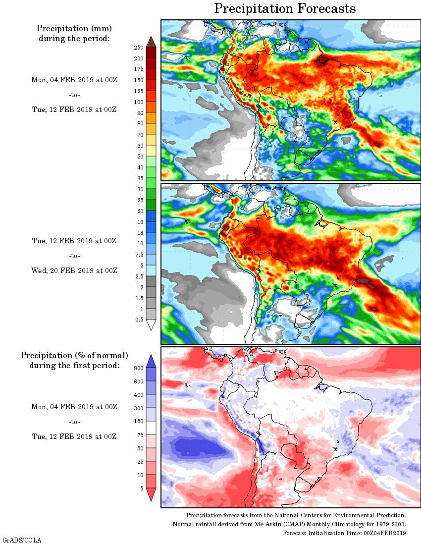 Mapa com a tendência de precipitação acumulada para o período de 04 de fevereiro até 20 de fevereiro - Fonte: National Centers for Environmental Prediction/NOAA