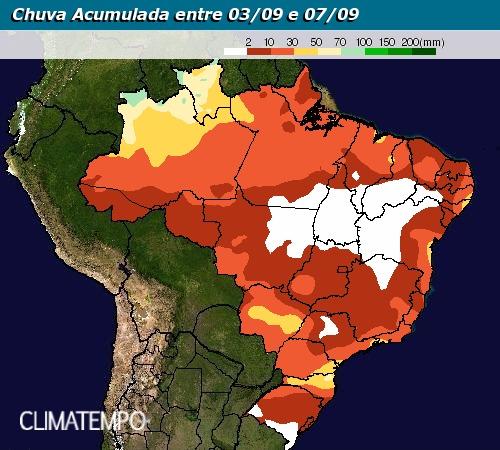 Chuva acumulada entre 3 e 7 de setembro