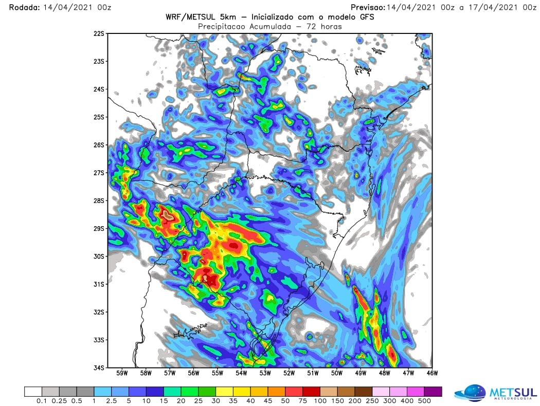 Mapa com a previsão de chuva do modelo WRF nas próximas 72 horas (mais chuva no RS) - Fonte: MetSul
