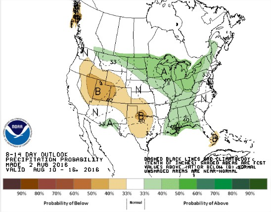 Chuvas previstas para os EUA entre 10 e 16 de agosto - Fonte: NOAA