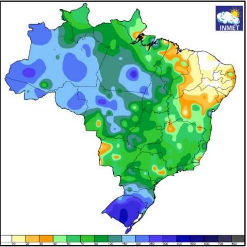 Precipitação acumulada em outubro de 2019