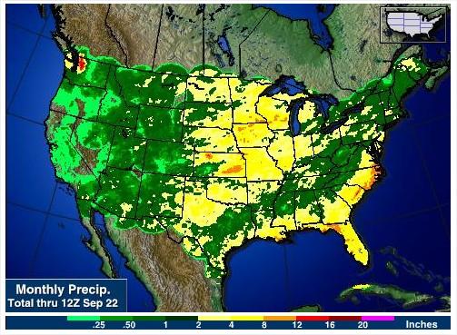 Acumulado de chuvas nos EUA nos últimos 30 dias - Fonte: AGWeb