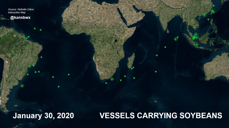 Fluxo de navios de soja - 30 de janeiro