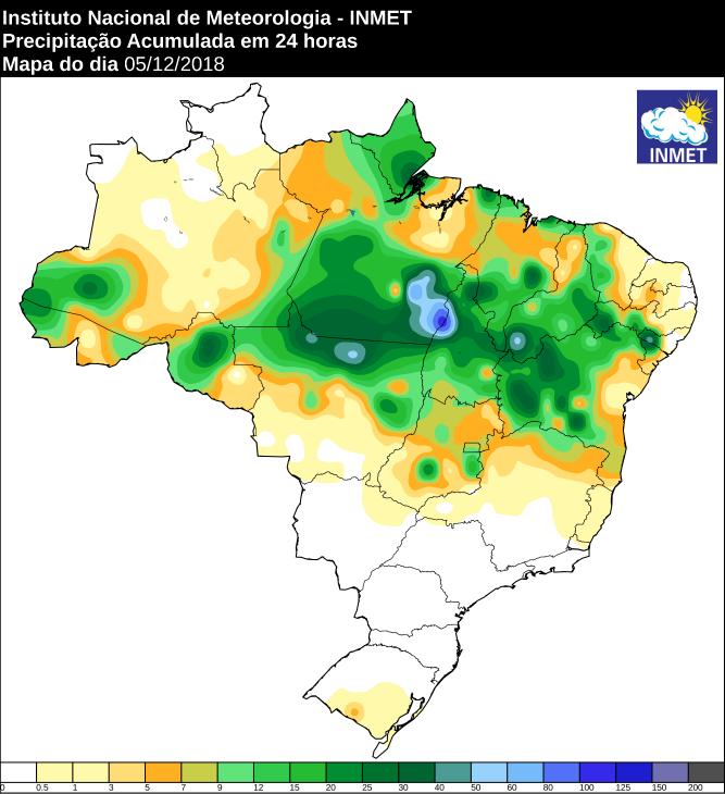 Mapa de precipitação acumulada nas últimas 24 horas em todo o Brasil - Fonte: Inmet