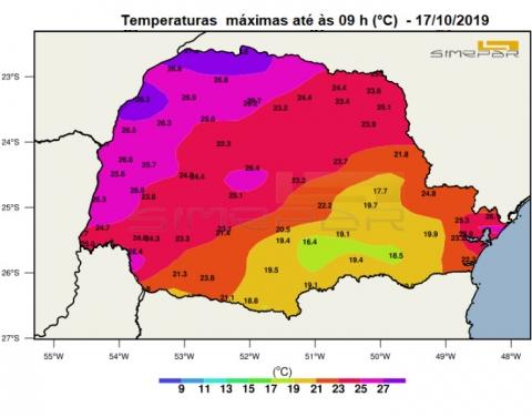 Mapa de temperaturas máximas registradas até às 9h no Paraná - Fonte: SIMEPAR