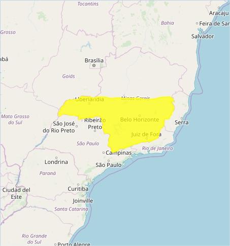 Mapa das áreas com alerta de chuvas intensas nesta 5ª - Fonte: Inmet