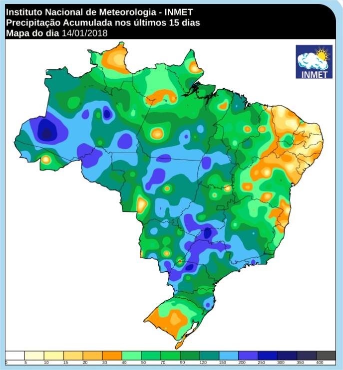 Chuvas acumuladas nos últimos 15 dias em Mato Grosso - Inmet