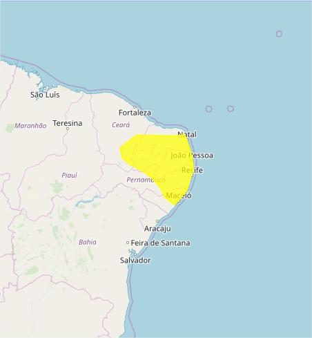 Mapa das áreas com alerta de acumulado de chuva nesta 4ª - Fonte: Inmet