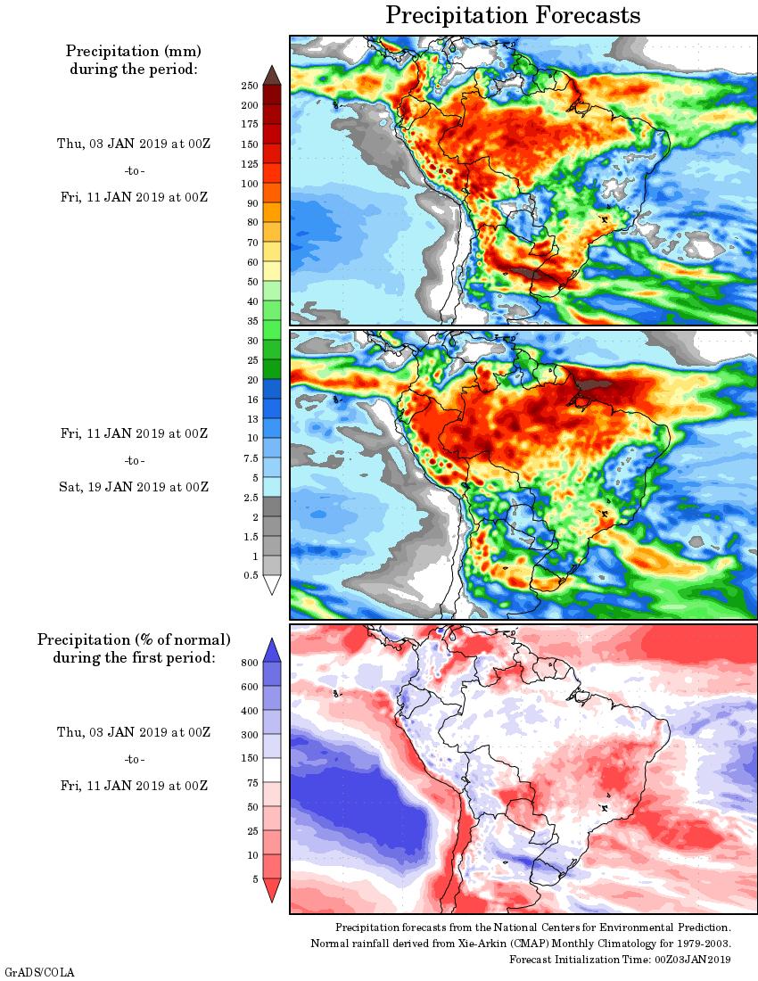 Mapa com a tendência de precipitação acumulada para o período de 03 de janeiro até 19 de janeiro - Fonte: National Centers for Environmental Prediction/NOAA