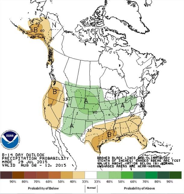 Chuvas nos EUA entre os dias 6 a 12 de agosto - Fonte: NOAA